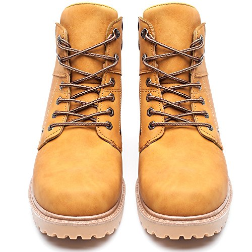 DRKA Men's Water Resistant Work Boots Comfortable Leather Plain Rubber Sole Industrial Construction Shoes for Male(17927-Wheat-46) by DRKA (Image #4)