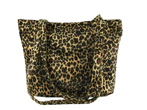 Animal Tote Handbag Print (Loni Womens Smart Animal Print Faux Fur Tote/Shoulder Bag in leopard)