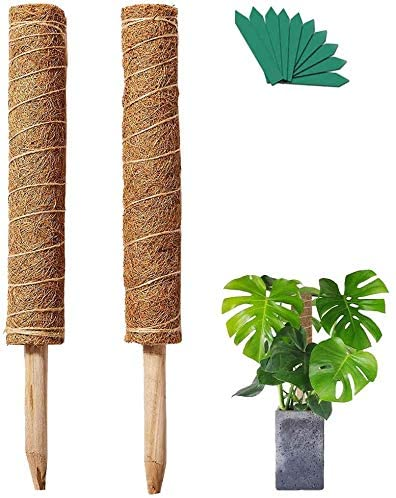 Rilla Mart 2 Packs 17.7 Inches Coir Moss Stick Plant Support Coco Coir Poles Moss Trellis for Climbing Vines with 20pcs Plant Labels
