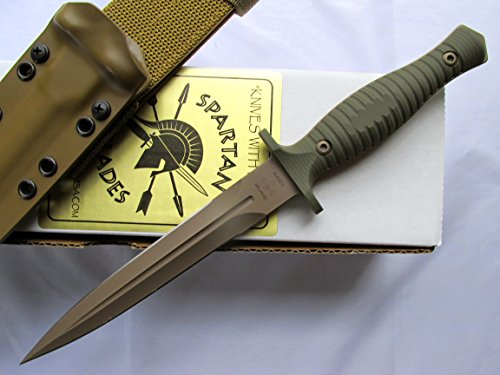 Sheath Spear Point Kydex (Spartan George V-14 Dagger Fixed Blade Fighting Knife Kydex Sheath Dark Earth Blade OD Handle)