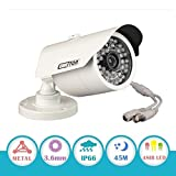 "EWETON 1/3"" CMOS 1200TVL CCTV Home Surveillance Weatherproof 48 Led 3.6mm Lens Wide Angle Bullet Security Camera with IR Cut-130ft IR Night Vision Distance, Aluminum Alloy Housing Silver"