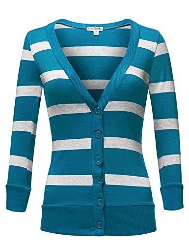 Deep V-neck 3/4 Sleeve Stripe Cardigans,004-Jade_Hgrey,US L