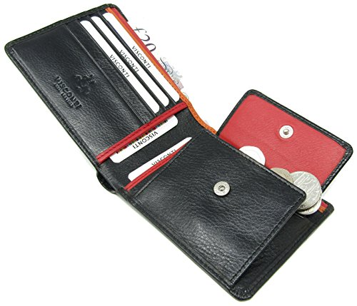 Visconti Leather Black Wallet Mens RFID Colour Slim Line Red Red Bond BD10 Black Multi Blocking Quality rft1rwq
