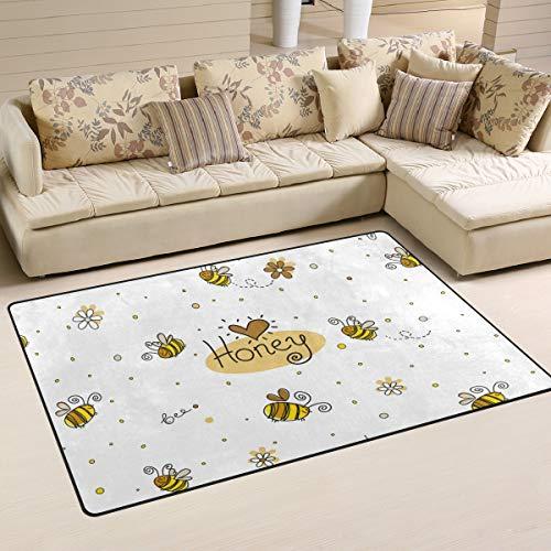 ALAZA Children Area Rug,Cute Honey Bees Floor Rug Non-Slip Doormat for Living Dining Dorm Room Bedroom Decor 60x39 Inch