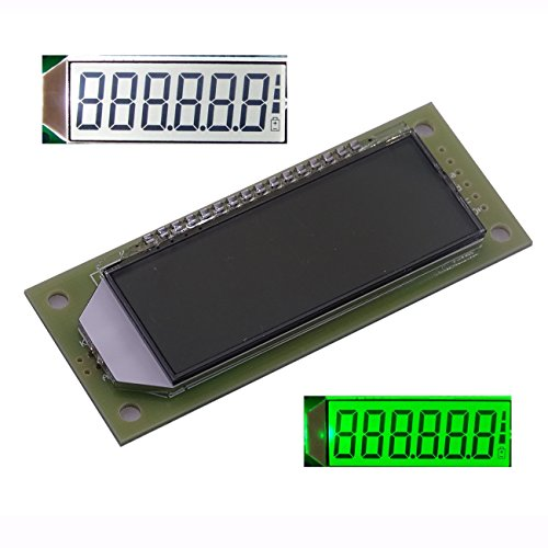 Mustwell LCD Module 2.4-inch 6-bit 7-Segment LCD Display Module HT1621 LCD Driver IC, Decimal Point White/Green Backlight