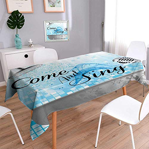 Price comparison product image Water Resistant Tablecloth hower Time to Relax Cute Fish Dolphin Shark Seal Underwater Sea Creatures Fun Smiling Great for Buffet Table,  Parties,  Holiday Dinner,  Wedding & More / 52W x 52L Inch