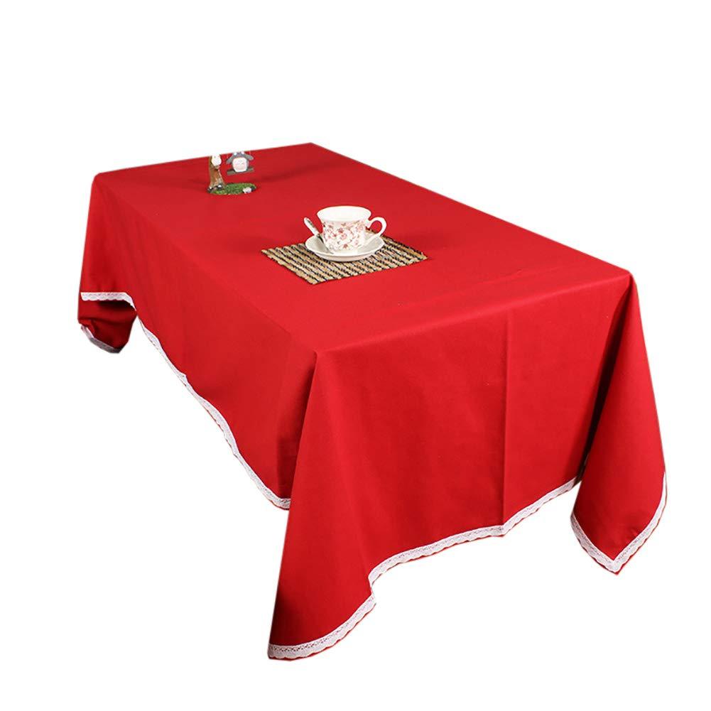GEOLBU 長方形 布製テーブルクロス 鮮やかな色 各種サイズ ファームハウス装飾 ディナーパーティー クリスマス ピクニック ポットラック 普段使いに最適 130x180cm(51x70inch) レッド 789-589 130x180cm(51x70inch) レッド B07KVFCWPV