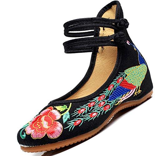 Yy.f Yyf Fille Femme Chaussure De Princesse A Talon Fleurs Broderies Chinoise Elegante Pour Ete Printemps Noir