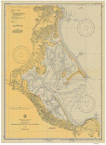 Ma Harbor - Plymouth, Kingston & Duxbury Harbors, MA - 1946 Nautical Map - Reprint Harbors 338-245