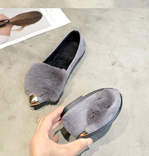 Single Gray Plush Anti Shallow Ladies Slippers Mouth Comfort Fur Outdoor Indoor Women Winter Shoes Warm Slip Sandals 6aqRg0