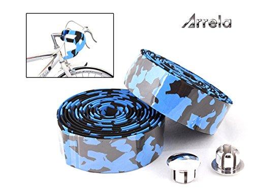 Arrela®Camouflage Series Bike Handlebar Tape Bike Bar Tape with Reflective Bar Plugs, Blue a Pair