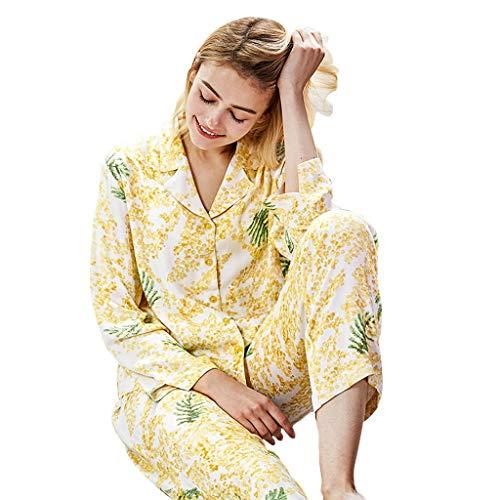 Y Una Pieza Algodón Hembras Delgado Íntimo Conjunto Mujeres Camisones Pijamas Casero Yellow Brillante Cómodos Natural De Aderezo Suaves Amarillo Regalo Pijama Las HRYgw
