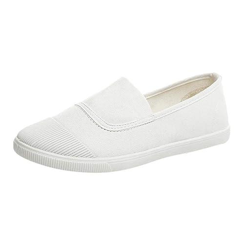 Zapatillas Canvas de Lona Mujer Estilo Casual y Deportivo, Mujeres Niñas Ronda Toe Sólido Casual Mocasines Sencillos Doug Zapatos de Lona: Amazon.es: ...