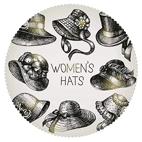 No Chemical Odor Round Tablecloth [ Victorian Decor,Collection of Vintage Woman Hats and Retro Fashion Catalogue Female Old Headdress Image,Black ] Home Accessories Set
