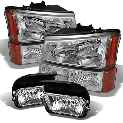 For 2003-2006 Silverado Avalanche 1500 2500 Pickup Chrome Clear Headlights + Bumper Lamp + Fog Lights Combo Set
