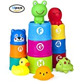 Vstarner Stacking Cups Baby Toys Early Educational Toddler Toys Baby Bath Toys & Rubber Animals BPA Free Recommended Baby Toys for 0 1 2 3 4-5 year old Boys and Girls .(14 Pcs)