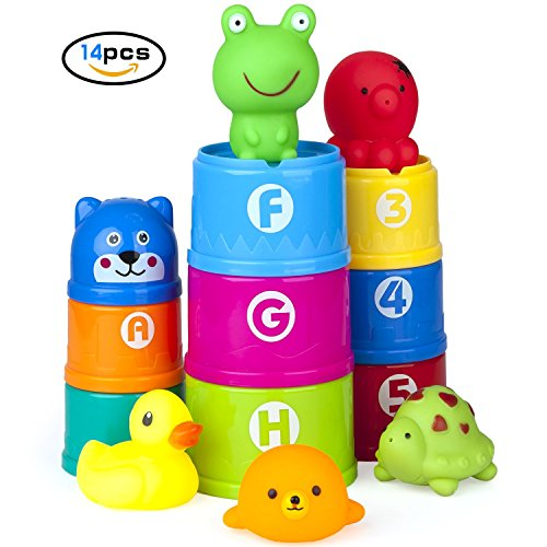Vstarner Stacking Cups Baby Toys Early Educational Toddler Toys Baby Bath Toys & Rubber Animals BPA Free Recommended Baby Toys for 0 1 2 3 4-5 year old Boys and Girls .(14 Pcs) by Vstarner