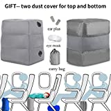 NIUMI Inflatable Adjustable Height Travel/Airplane Pillow for Leg/Foot Rest,Airplane Bed for Kids to Lay Down Or Sleep on Long-Haul Flight,Suitable for Airplane, Car, Bus, Trains, Office, Home (Grey)