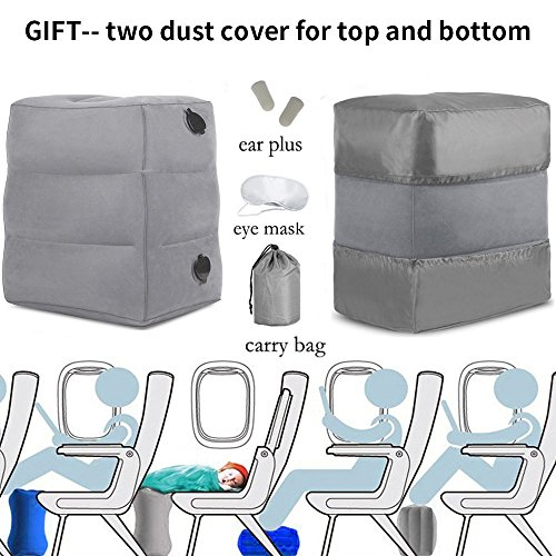 HAOBAIMEI Travel Foot Rest Pillow, Inflatable Adjustable Height Footrest Pillow for Foot Rest on Airplanes, Cars, Trains, Airplane Bed for Kids & Toddlers to Lay Down or Sleep on Long Flights (Gery)