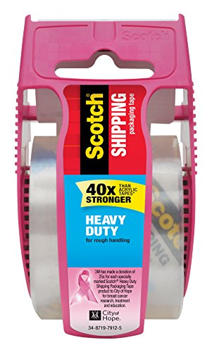 Scotch Heavy Duty Shipping Packaging Tape, 1 Roll with Pink Dispenser, 1.88 x 22.2 yd, 1.5 Core, Great for Packing, Shipping & Moving, Clear (142-PC)
