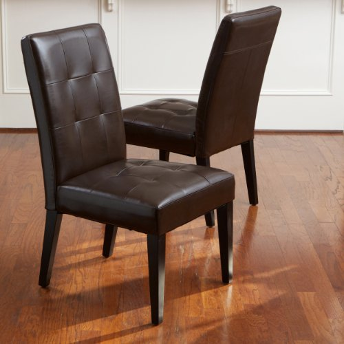 Highland Brown Leather Dining Chair (Set Of 2) Features