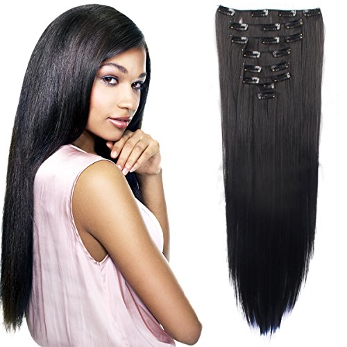 8Pcs 18 Clips 17-26 Inch Curly Straight Full Head Clip in on Hair Extensions Women Lady Hairpiece
