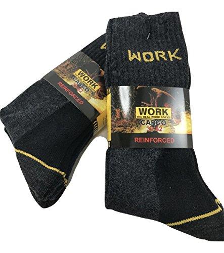 Work - Calcetines de trabajo reforzados (6 pares, esponja de algodón de refuerzo en talón y punta) 39-42: Amazon.es: Deportes y aire libre