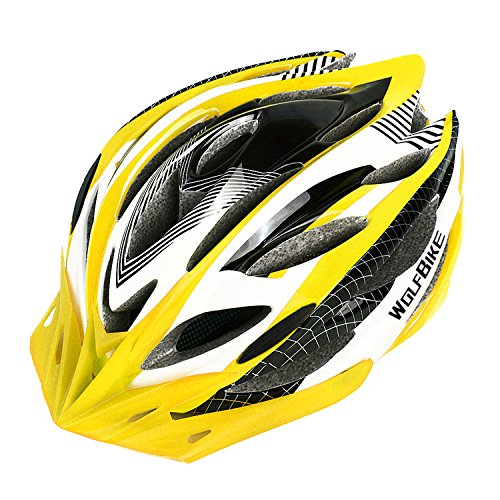 Wolfbike Unicase Bicycle Cycling PVC Helmet BMX MTB Off Road Safety Helmet Superlight (Yellow)