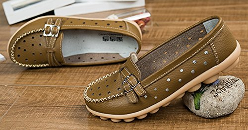 Chocolate Two Out Buckle Loafer Women's Hollow Aisun Chic Flats wISq8H