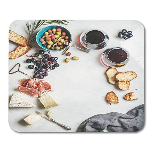 Nakamela Mouse Pads Wine and Snack Variety of Cheese Olives in Ceramic Bowl Prosciutto Roasted Baguette Slices Black Grapes Mouse mats 9.5