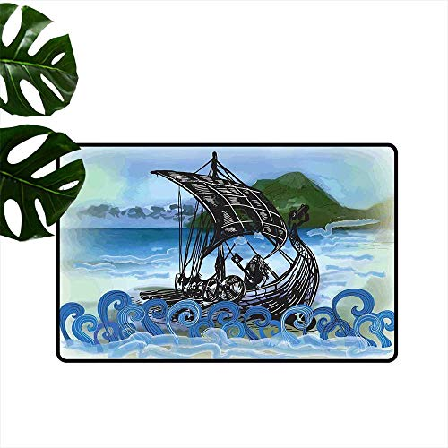 Anzhutwelve Nordic,Outdoor mats Drekar Boat Vikings Ship Bearded Warrior with Axe Swirled Sea Waves Artwork Small Outdoor mats W 16