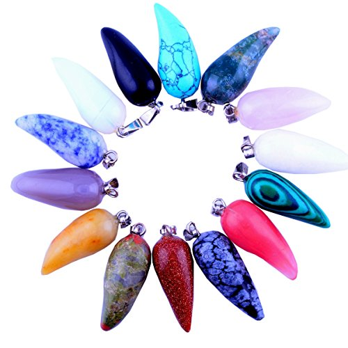 20pcs Gems Chilli Shape Healing Pointed Chakra Rock Beads Pendants Semi-Precious Handmade Quartz Crystal Stone Beads Pendant for Necklace Jewelry Making