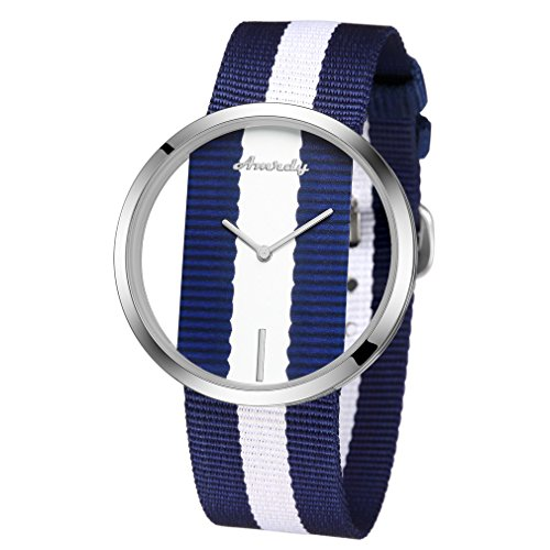 Minimalist Watches Quartz Wrist Watch with Adjustable Nylon Band Casual Watch Waterproof (Navy Blue/White)