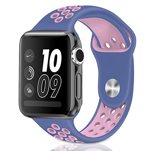 Casual Accessories Compatible Apple Watch Band 42mm for iWatch Series 3 2 1 Sport band for men and women - Sports Soft Silicone Replacement Band Nike + Sport Edition Strap M/L Size Blue Pink by Casual Accessories