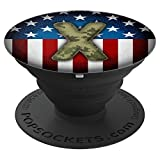Camouflage Monogram X Patriotic Flag USA America - PopSockets Grip and Stand for Phones and Tablets