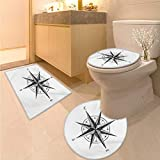 Anhuthree Compass Bath mat Set with Toilet Cover Seamanship Hand Drawn Windrose with Complete Directions North South West Non Slip Bath Shower Rug Charcoal Grey White
