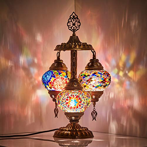DEMMEX 2019 Stunning 3 Globe Turkish Moroccan Bohemian Table Desk Bedside Night Lamp Light Lampshade with North American Plug & Socket, 19 Inches (Gift Me!)