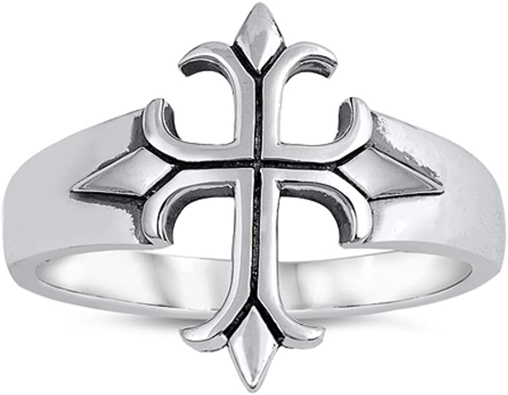 CloseoutWarehouse Sterling Silver Medieval Cross Ring