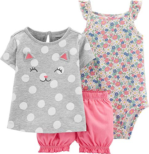 Carter's Baby Girls' 3-Piece Bodysuit & Diaper Cover Sets (12 Months, Heather/Pink Kitty)