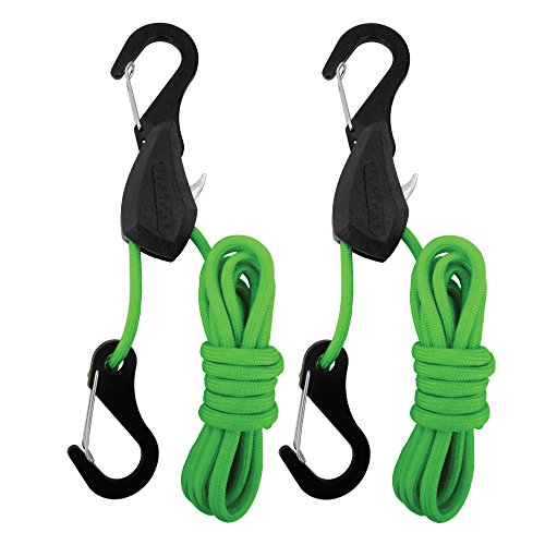 PROGRIP 056240 Better Than Bungee Rope Lock Tie Down with Snap Hooks: 6' Green Parcord (Pack of 2)