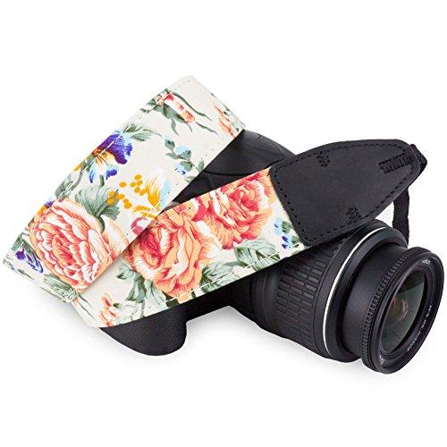 Wolven Pattern Cotton Camera Neck Shoulder Strap Belt Compatible for All DSLR/SLR/Men/Women etc, White Flower