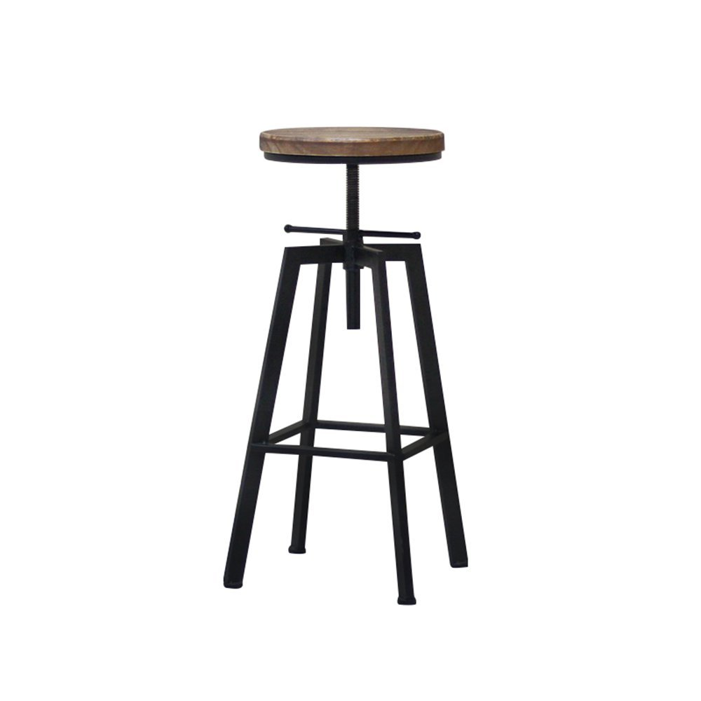 GJM Shop Bar Stool Chair Kitchen Chair Dining Chair Breakfast Chair Natural Pinewood Adjustable Height Swivel Industrial Style Easy to Move