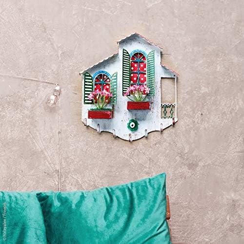 Handarbeit L:32cm x H:31,5cm Schlüsselbrett Haus aus Metall und Glas