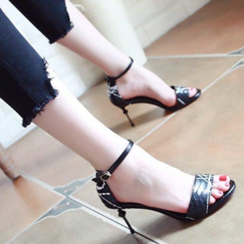 Toe y Verano Toe Elegante Temperamento Nuevo Europeo Estilo Lady'S tacón Hueco white de Zapatos YMFIE Sandalias 7OYdqwY