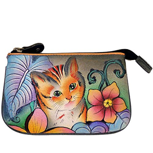 Leather Zipped Entry (Anuschka Genuine Leather Hand Painted Medium Coin Purse (Cats In Wonderland))