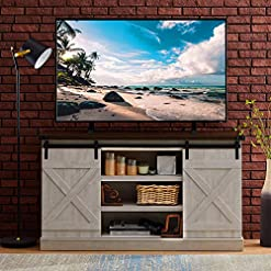 Farmhouse Living Room Furniture Hooseng Farmhouse Entertainment Center with Adjustable Shelves Sliding Barn Door Stands TVs Up to 60″ Storage Cabinet Table for Living Room, 54″ L x 15″ W x 30″ H, Sargent Oak farmhouse tv stands