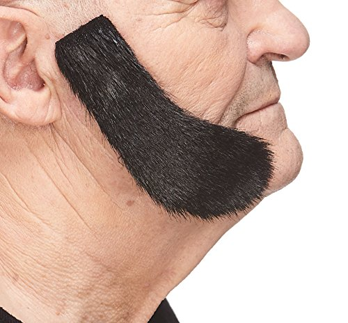 Mustaches Self Adhesive, Novelty, Fake Mutton Chops Sideburns, False Facial Hair, Costume Accessory for Adults, Black Lustrous Color -