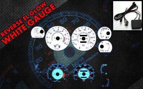Brand New White Face Blue Indigo Reverse Glow Gauges For 86-92 Toyota Supra Turbo (I-451) (Gauges Reverse Turbo Glow)