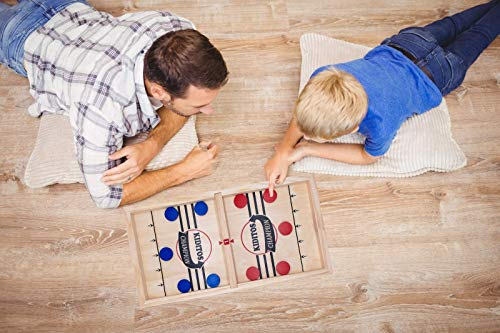 Fast Sling Puck Game Large, 2V2 Tabletop Family Battle Board Game, 3 Levels Slingshot Wooden Hockey Game, Classic Foosball Winner Board Game for Kids, Teens and Family Game Night 22.4 x 12.2 inch