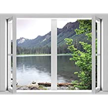 J.P. London CWPOSLT7019 uStrip Lite Removable Wall Decal Sticker Window Mural Lake Large Rustic Pond Forest, 24-Inch X 18-Inch